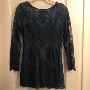 Intimately Free People Teal Bodycon Lace Dress